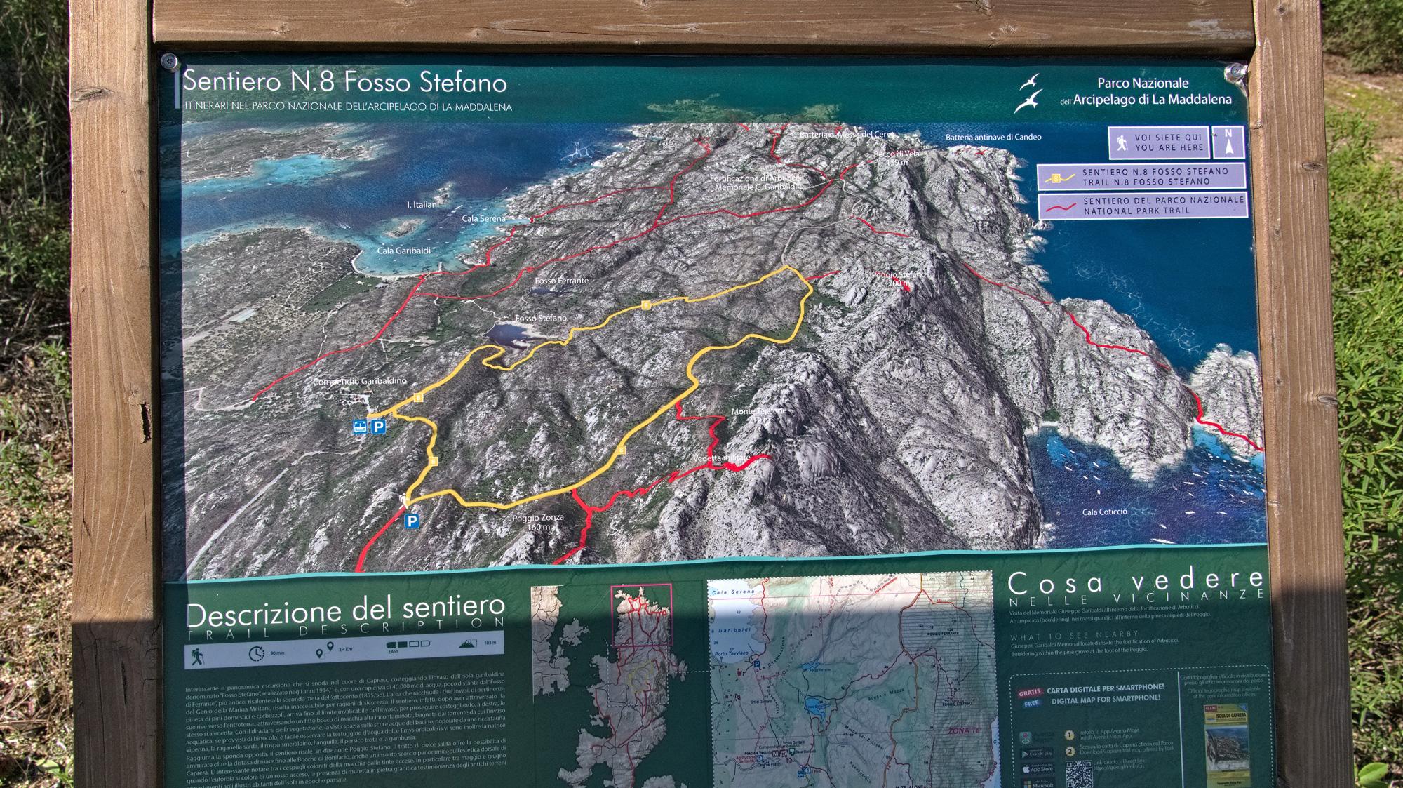Caprera ist von diversen Wanderwegen durchzogen